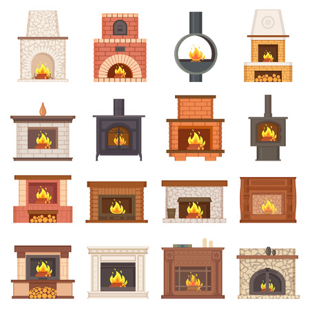 Luxurious Stylish Brick and Wooden Fireplaces Set