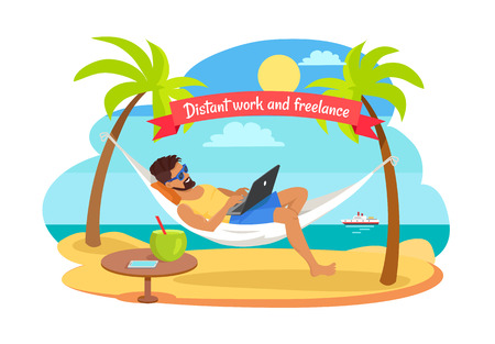 Distant Work and Freelance Vector Man on Hammock Imagens - 104041335