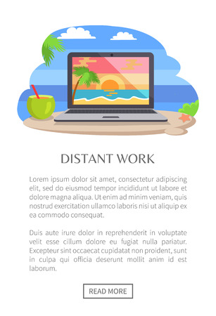 Distant Work Poster Open Notebook, Tropical Sunset Illustration