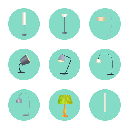 Lapms Circle Icons Collection Vector Illustration
