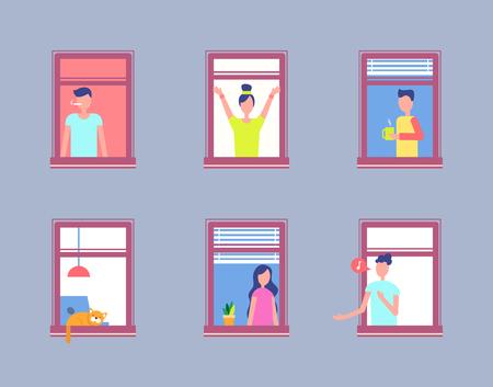 Définir la fenêtre ouverte de personnes. Hommes et femmes voisins Vecteurs