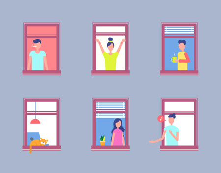 Impostare le persone nella finestra aperta. Uomini e donne vicini Vettoriali