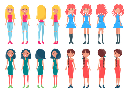 Set Animated Young Girl Casual and Elegant Outfits