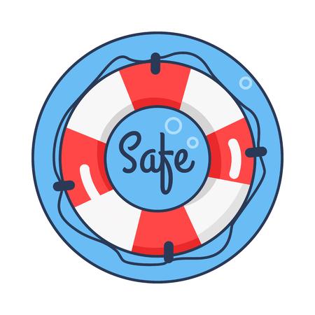 Safe Lifebuoy Rounded Icon Vector Illustration