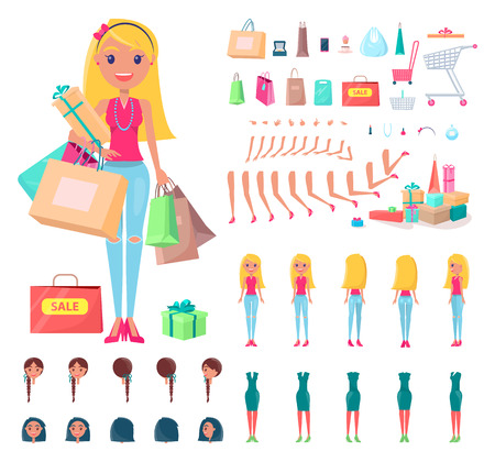 Shopaholic Constructor Woman Vector Illustration