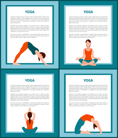 Yoga Banners Set with Text Vector Illustration
