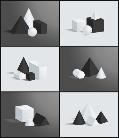 Six geometric banners, different vector figures, illustration with spheres and cubes, cones and cuboids, pyramids set, pentagonal and hexagonal prisms