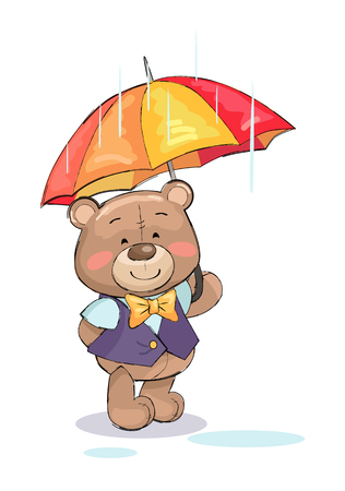 Cute teddy-bear standing under umbrella in rainy weather vector illustration of stuffed toy in gentleman suit, smiling bear isolated on white