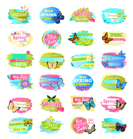 Spring sale collection of banners with headlines and butterflies, flowers in blossom and leaves, spring sale vector illustration isolated on white Illustration