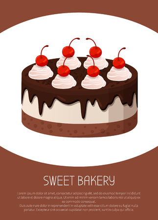 Tasty cake, sweet bakery made of tender cream with liquid dark chocolate and sweet cherries on top isolated cartoon flat vector illustration on white background.
