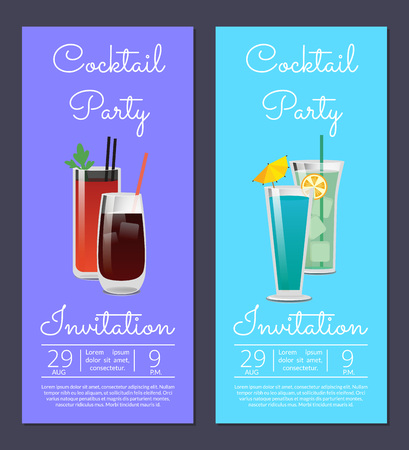 Cocktail party invitation poster with bloody mary, whiskey or vodka cola, blue lagoon and mojito beverages in glasses vector date and time info