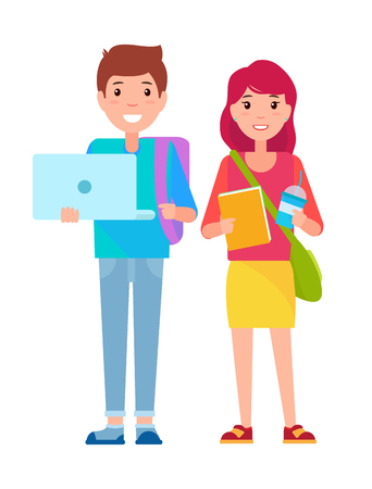 Young boy and girl standing together, student boy with laptop, student girl holding cup and book, vector illustration isolated on white background
