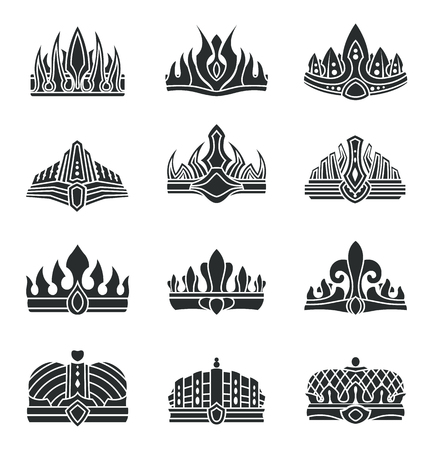 Royal crowns with unusual design monochrome set. Crowns with sharp top and in form of hat. Heraldic symbols of power isolated vector illustrations. Stock Vector - 104122118