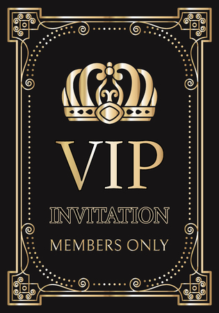 Invitation for VIP members only with gold crown inside vintage frame. Royal crown on vertical invitation for exclusive visitors vector illustration. Vettoriali