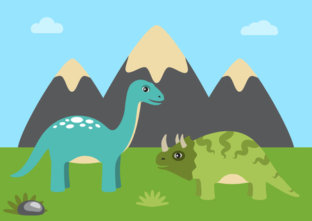 Dinosaurs and nature with sky, dinosaurs and green grass, rocks and mountain, clouds and triceratops with sauropods isolated on vector illustration Illustration
