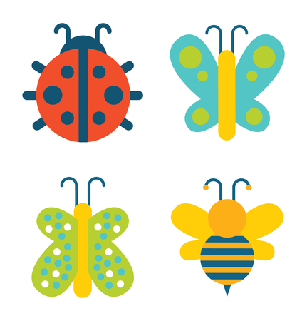 Insects collection of creatures, ladybug and butterfly with colorful wings, bee with antenna, set vector illustration isolated on white background