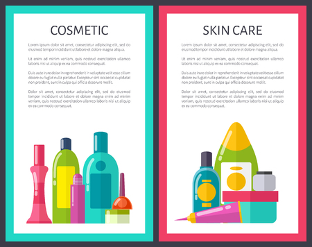 Set of cosmetic and skin care vector illustration with various bottles with cream, shampoo nail polish and lotion, text sample, blue and red frames Illustration