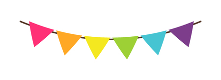 Multicolor triangular bright paper garlands. Colorful birthday flags decoration for party vector decorative elements isolated on white background.