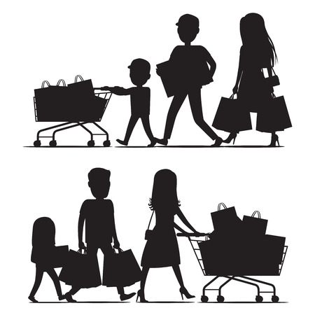 Shopping family silhouettes with packs on white. Two families with children and parents walk carrying packages and riding supermarket shopping trolleys. Vector commercial purchasing template