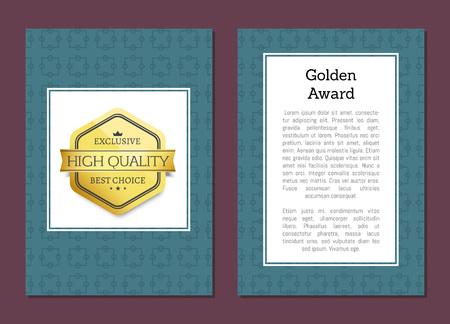Golden award poster with emblem high quality exclusive best choice golden label topped by crown vector illustration poster design isolated on blue
