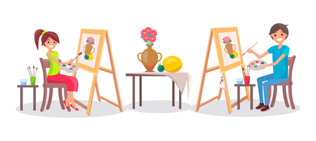 Girl and boy drawing still life picture of vase and fruits with brushes holding palette in hands vector illustration isolated on white background Illustration