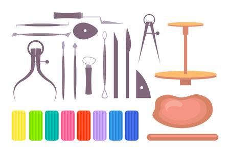 Various drawing and clay modelling instruments and tools isolated vector illustration on white background. Set of art school equipment along with potter s wheel