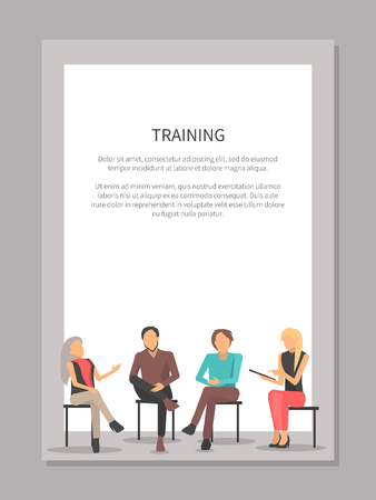 Training poster with people at business meeting sit on chairs, discuss issues and raise qualification isolated cartoon flat vector on white in frame Ilustrace