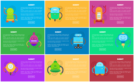 Robot web pages collection with robots and text sample, headlines and buttons, types of mechanisms, vector illustration, isolated on multicolored