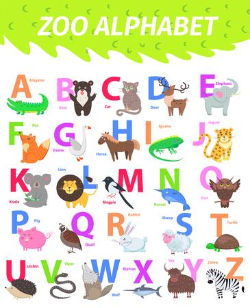 Zoo Alphabet mit niedlichen Tieren Cartoon Vektor. Englische Buchstaben, die mit lustigen Tieren eingestellt werden, isolierten flache Illustrationen. Kinder ABC mit Säugetier, Vogel, Haustier und Bildunterschrift für die Vorschulerziehung, Kinderbücher