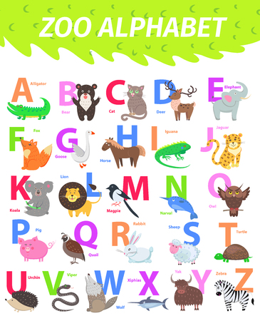Zoo alphabet with cute animals cartoon vector. English letters set with funny animals isolated flat illustrations. Childrens ABC with mammal, bird, pet and caption for preschool education, kids books Ilustração