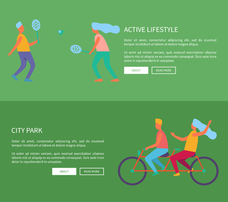 Active lifestyle and city park image with people playing badminton and couple on bicycle. Vector illustration designed for web page with icons of people Ilustração