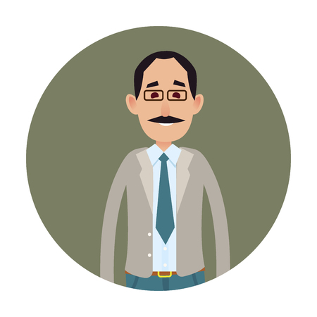 Joyed businessman isolated on white icon. Smiling mustached male character in glasses and business suit tie half-length portrait flat vector. Happy clerk cartoon illustration in circle for user avatar Ilustração