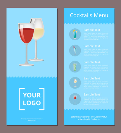 Cocktails menu advertisement poster design with alcohol drinks with straws and lemon, list of beverages place for your logo design on blue background