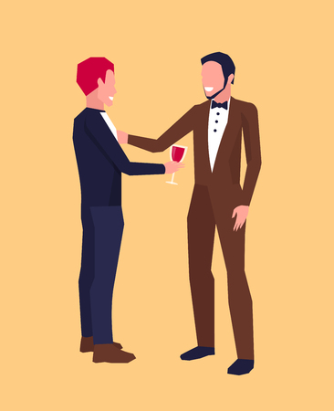 Icon with two smiling males in middle of conversation, one of them has glass of wine. Vector illustration of two men in suits isolated on orange background