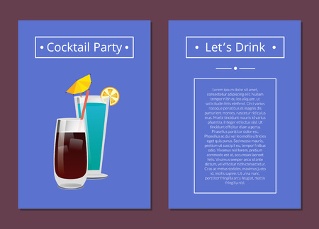 Cocktail party lets drink promo poster drinks made of vodka, cola and mint with ice vector illustration on blue background place for text in frame