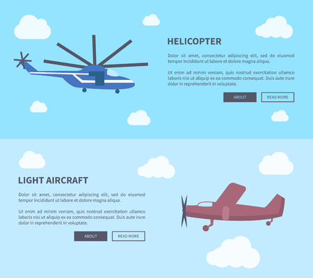 Helicopter and light aircraft set of banners with inscription. Vector illustration of plane and type of rotorcraft against sky background with clouds