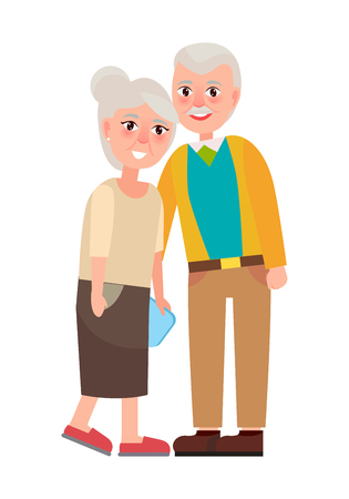 Grandma and grandpa vector illustration isolated on white. National Grandparents Day poster with senior gray head couple, retired cartoon characters