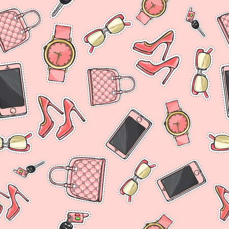 Collection of women accessories. Pink purse. Glasses. Cellphone. High-heeled shoes. Perfume in light flask. Cartoon design. Seamless pattern. Endless texture. Poster. Fabric Flat style Vector