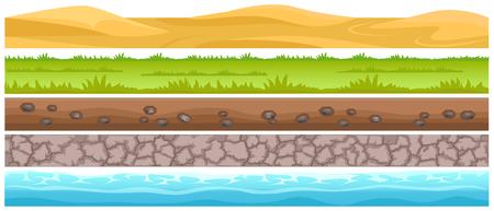 Conjunto de tipos de superficies y terrenos sin costuras. Dunas de arena en el desierto, prado verde con hierba, suelo con piedras, suelo seco agrietado y vector plano de agua en blanco. Elemento de diseño de entorno de juego de interfaz de usuario.