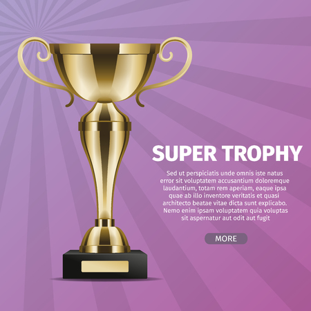 Super trophy vector web banner with golden cup. Shiny goblet realistic illustration on stripped background. Prize for victory in competition Illustration
