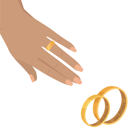 Womans wrist with golden ring on annulary finger flat vector. Marriage proposal or engagement concept with pair of wedding rings illustration Foto de archivo - 104122715