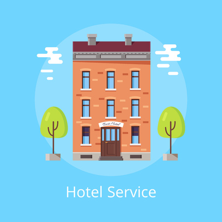Hotel service bright poster with brick building with sign Best Hotel above entrance. Vector illustration of resort building on light blue background