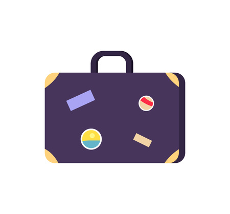 Vintage blue suitcase icon with colorful stickers pasted on its side. Vector illustration of retro styled bag isolated on white background