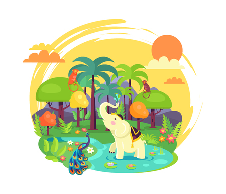 Indian jungle with leafy trees, tall palms, white elephant, bright peacock, funny monkey, small river and orange sun in sky vector illustration.
