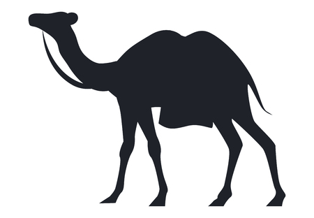 Indian camel black silhouette vector illustration isolated on white background. Arabic mammal animal, national symbol of India and Africa