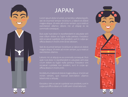 Japan traditions and customs represented by japanese people, woman wearing red kimono and man in national cloth, vector international day with text