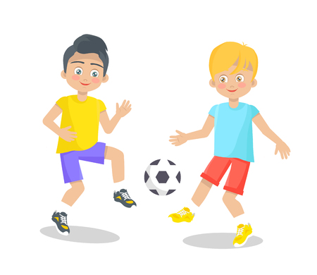 Two boys playing with football ball clothed in summer apparel isolated on white background. Toddlers in t-shirts and shorts play active games