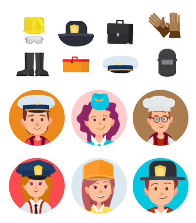 Boy mariner, girl stewardess, future chef, small police officer, girl builder and brave firefighter with special equipment vector illustrations set.