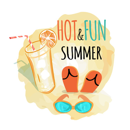 Hot and fun summer background, vector illustration of refreshing beverage with orange and pair of flip-flops on sand and sunglasses nearby