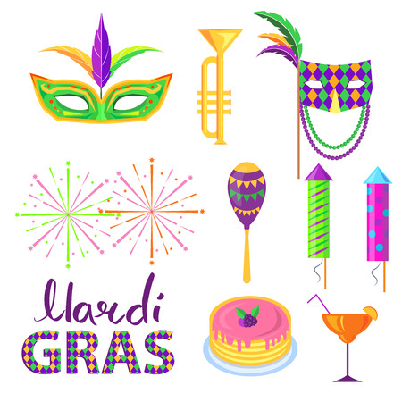 Magri Gras carnival concept with masks, musical instruments and food isolated flat vectors. Masquerade and costumed party attributes illustration set for holiday celebration invitation design